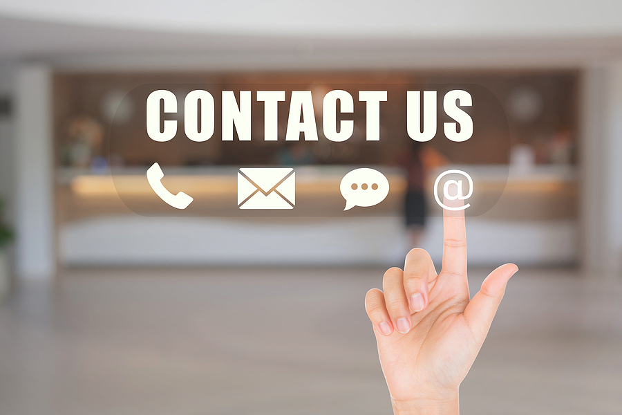 Call Center And Contact Us Concept : Hand Choosing And Pressing